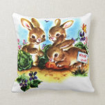 Baby Bunnies in the Garden Vintage Storybook Art Throw Pillows