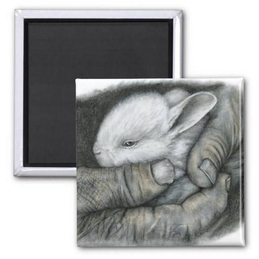 BABY BUNNY 2 INCH SQUARE MAGNET