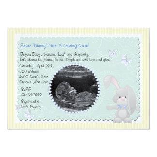 Baby Bunny Blue Photo Baby Shower Invitation