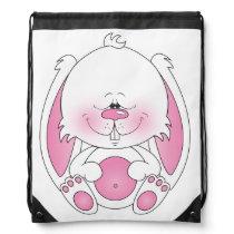 Baby Bunny Cartoon Illustration Drawstring Backpack
