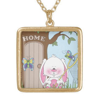 Baby Bunny Cartoon Square Pendant Necklace