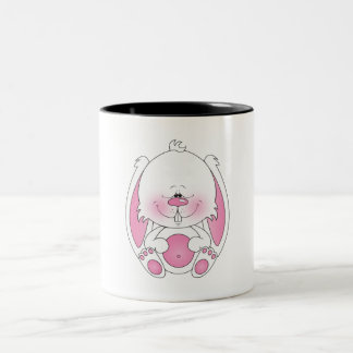 Baby Bunny Cartoon Two-Tone Coffee Mug