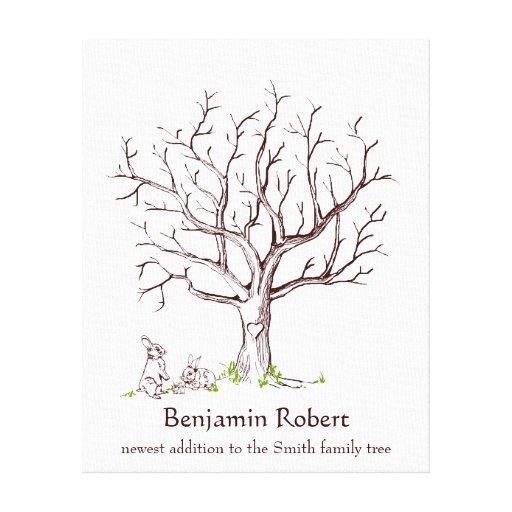 Baby Bunny Fingerprint Tree Guestbook Canvas Print