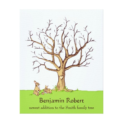 Baby Bunny Fingerprint Tree Guestbook Gallery Wrapped Canvas