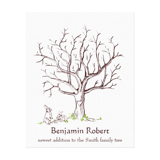 Baby bunny fingerprint tree guestbook canvas print zazzle