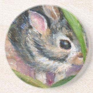 Baby Bunny Hiding Drink Coaster