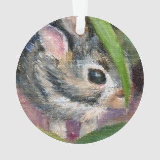 Baby Bunny Hiding Ornament