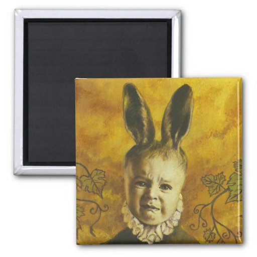 Baby Bunny Mutant Design 2 Inch Square Magnet