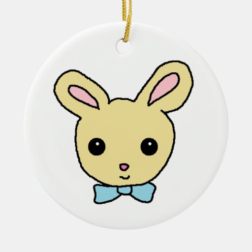 Baby Bunny Double-Sided Ceramic Round Christmas Ornament