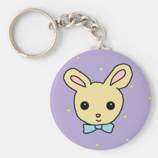 Baby Bunny Purple Basic Round Button Keychain