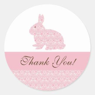 Baby Bunny Rabbit Baby Shower Sticker Thank You