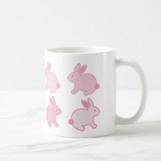 Baby Bunny Rabbits, Polka Dots, Check, Pastel Pink Coffee Mug