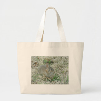Baby Bunny Turns Heads Large Tote Bag
