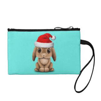 Baby Bunny Wearing a Santa Hat Change Purse
