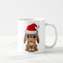 Baby Bunny Wearing a Santa Hat Coffee Mug