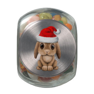 Baby Bunny Wearing a Santa Hat Glass Jars