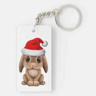 Baby Bunny Wearing a Santa Hat Keychain