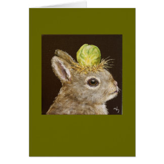 baby bunny with Brussels sprout hat card