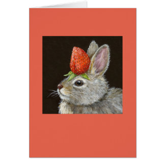 baby bunny with strawberry card