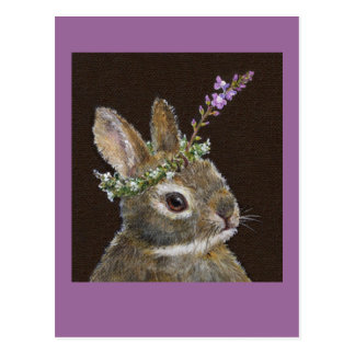 baby bunny with wildflower hat postcard