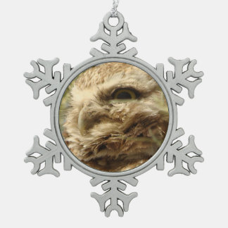 Baby Burrowing Owl Snowflake Ornament