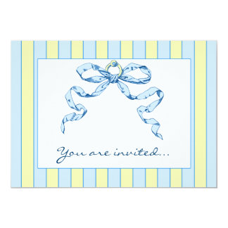 Baby Business Blue & Yellow Striped Invitations