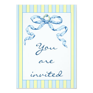 Baby Business Blue & Yellow Stripes & Vintage Bow Card