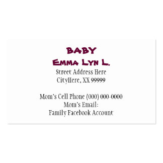 Baby Business Cards Little Girl s Shoes Pink