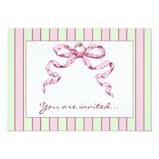 Baby Business Green & Pink Striped Invitations