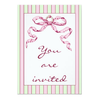 Baby Business Green & Pink Stripes & Vintage Bow Card