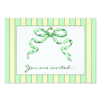 Baby Business Green & Yellow Striped Invitations