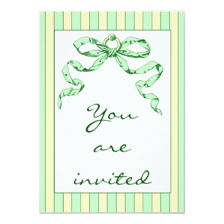 Baby Business Green & Yellow Stripes & Vintage Bow Card