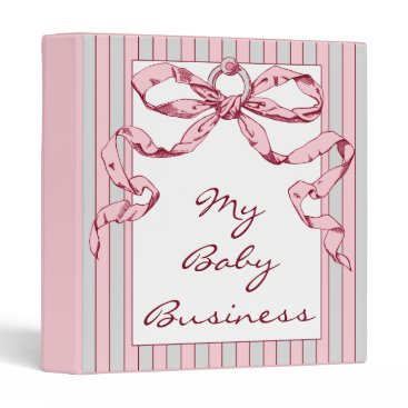 Professional Business Baby Business Grey & Pink Striped Binder