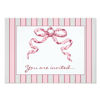Baby Business Grey & Pink Striped Invitations