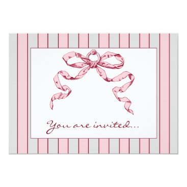 Professional Business Baby Business Grey & Pink Striped Invitations