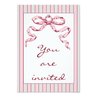 Baby Business Grey & Pink Stripes & Vintage Bow Card