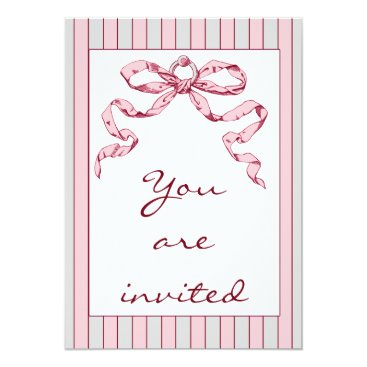 Professional Business Baby Business Grey & Pink Stripes & Vintage Bow Card