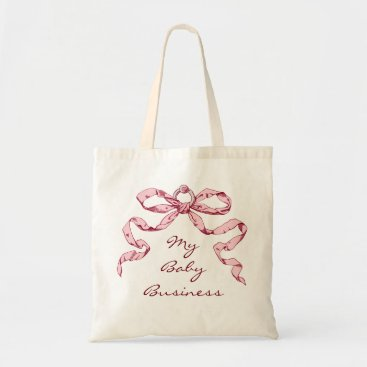 Professional Business Baby Business in Pink & Grey Bow Gift Bag