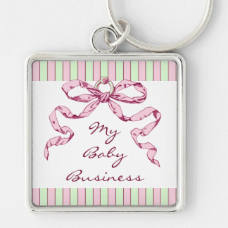 Baby Business Pink & Green Bow Key Chain