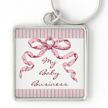 Professional Business Baby Business Pink & Grey Bow Key Chain