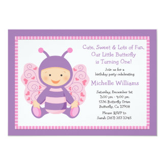 "Baby Butterfly Birthday Party Invitation 5"" X 7"" Invitation Card"