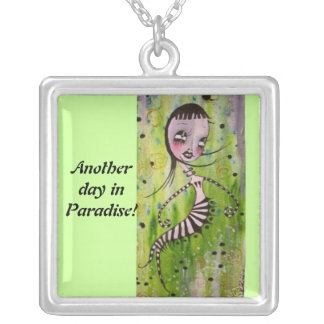 Baby Cakes~Another Day in Paradise! Necklace.. Silver Plated Necklace