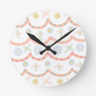 Baby Cakes. Sweet pastel colourful pattern Round Clock