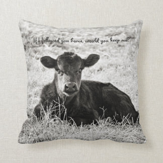 Baby Calf Square Black & White Cotton Pillow