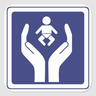 baby care sign square sticker