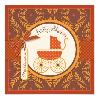 Baby Carriage Autumn Damask Print Girl Baby Shower Custom Invite