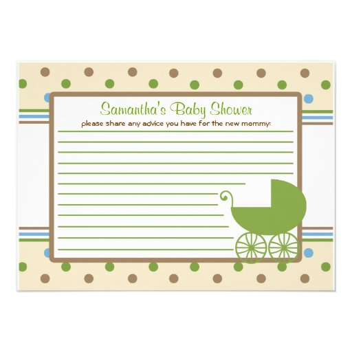 Baby carriage baby shower advice card 4 5 quot x 6 25 quot invitation card