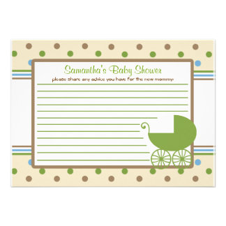 Baby Carriage Baby Shower Advice Card Announcement