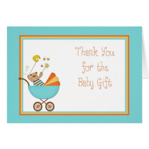 Baby Gift Thank You Note : Baby carriage bear blue gift thank you card zazzle