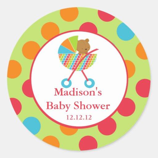 baby carriage bearl baby shower sticker zazzle